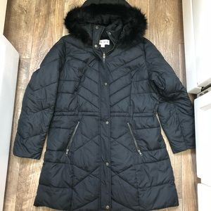Ava +Viv Women's 1X Black Long Quilt Puffer Jacket
